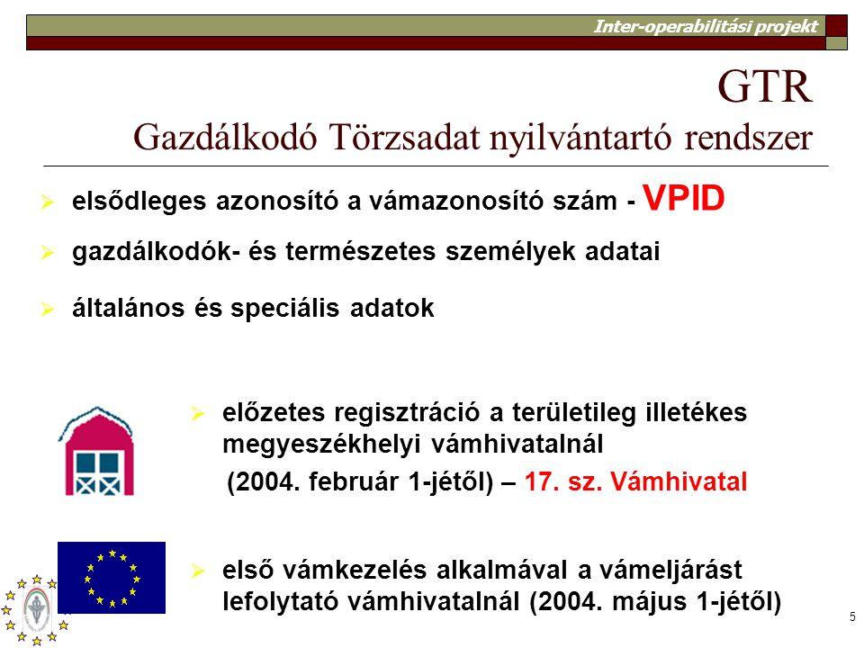 Inter-operabilitási projekt 5 GTR Gazdálkodó Törzsadat nyilvántartó rendszer  elsődleges azonosító a vámazonosító szám - VPID  gazdálkodók- és termé
