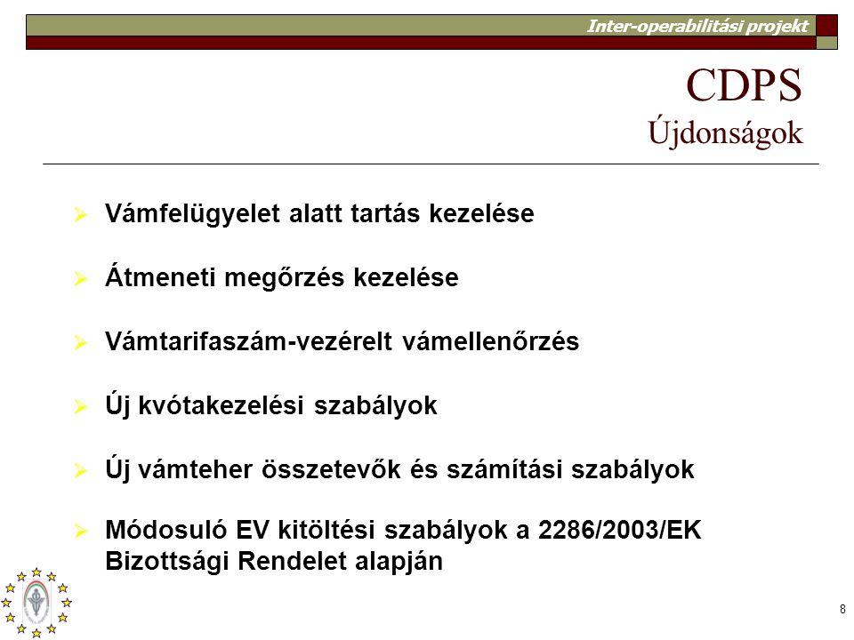 Inter-operabilitási projekt 8 CDPS Újdonságok  Vámfelügyelet alatt tartás kezelése  Átmeneti megőrzés kezelése  Vámtarifaszám-vezérelt vámellenőrzé