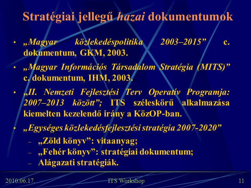 """2010.06.17. ITS Workshop 11 Stratégiai jellegű hazai dokumentumok """"Magyar közlekedéspolitika 2003–2015"""" c. dokumentum, GKM, 2003. """"Magyar Információs"""