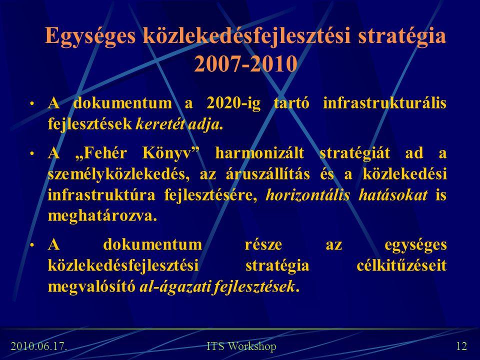 2010.06.17. ITS Workshop 12 Egységes közlekedésfejlesztési stratégia 2007-2010 A dokumentum a 2020-ig tartó infrastrukturális fejlesztések keretét adj