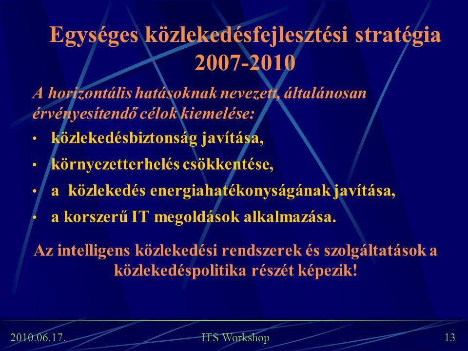 2010.06.17. ITS Workshop 13 Egységes közlekedésfejlesztési stratégia 2007-2010 A horizontális hatásoknak nevezett, általánosan érvényesítendő célok ki