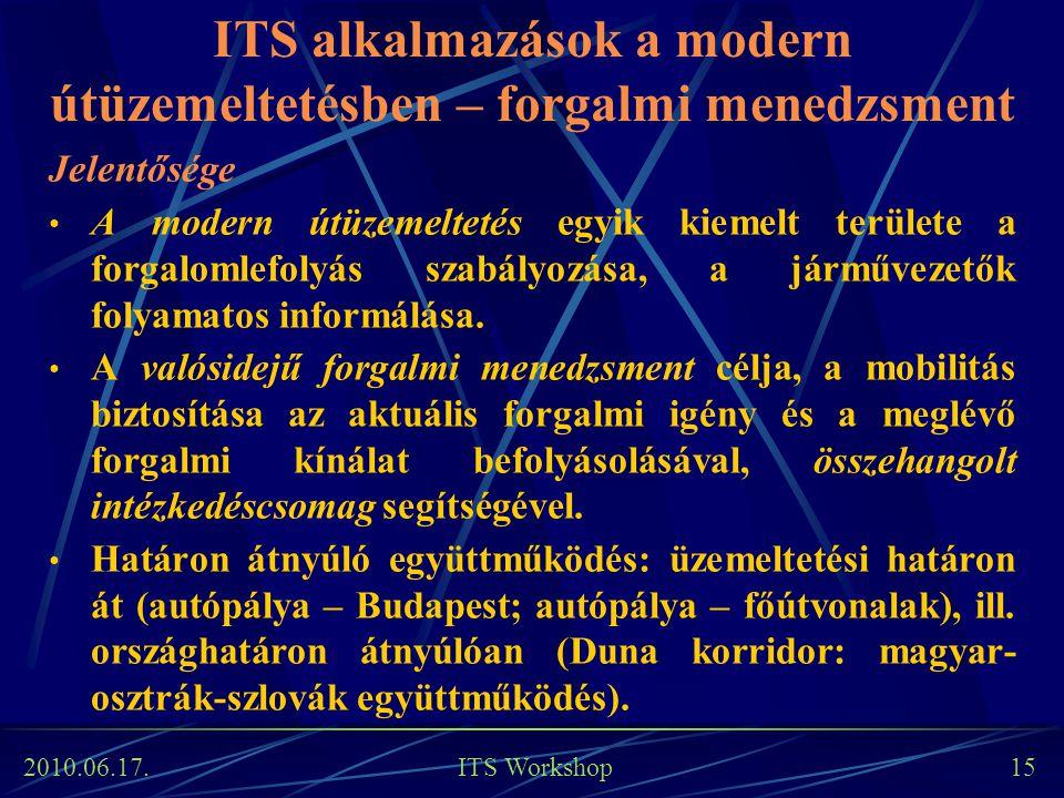 2010.06.17. ITS Workshop 15 ITS alkalmazások a modern útüzemeltetésben – forgalmi menedzsment Jelentősége A modern útüzemeltetés egyik kiemelt terület