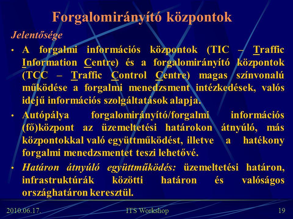 2010.06.17. ITS Workshop 19 Forgalomirányító központok Jelentősége A forgalmi információs központok (TIC – Traffic Information Centre) és a forgalomir