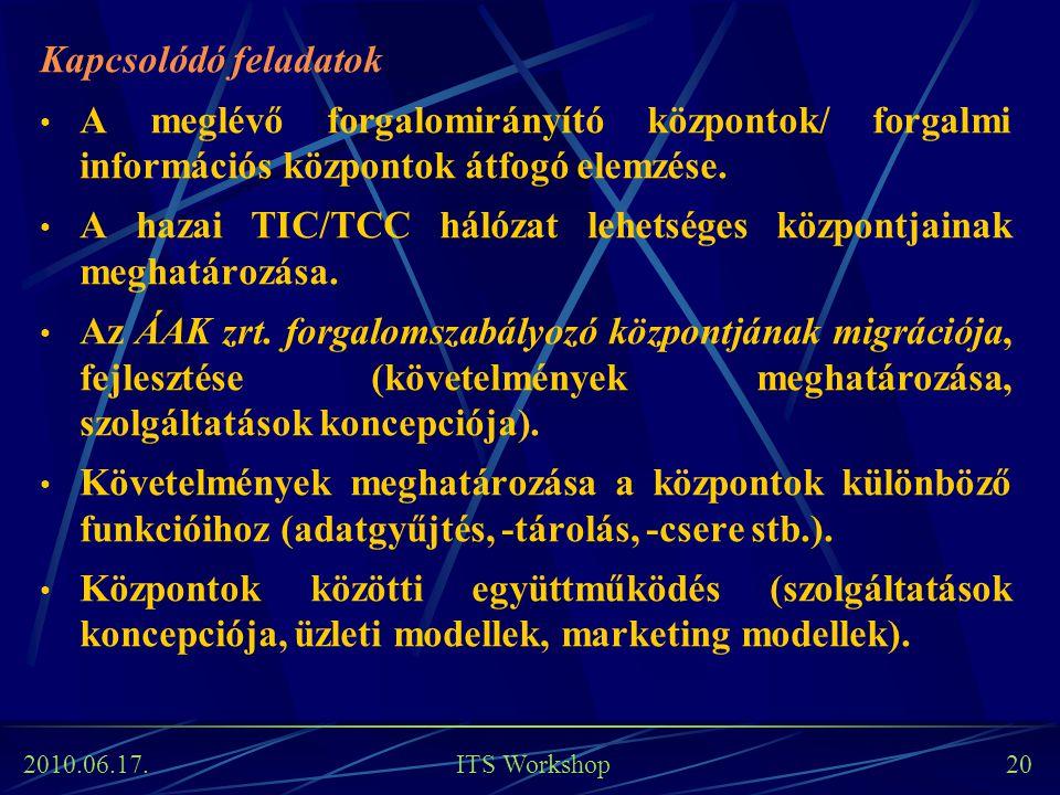 2010.06.17. ITS Workshop 20 Kapcsolódó feladatok A meglévő forgalomirányító központok/ forgalmi információs központok átfogó elemzése. A hazai TIC/TCC