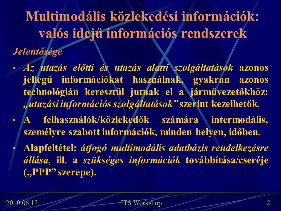 2010.06.17. ITS Workshop 21 Multimodális közlekedési információk: valós idejű információs rendszerek Jelentősége Az utazás előtti és utazás alatti szo