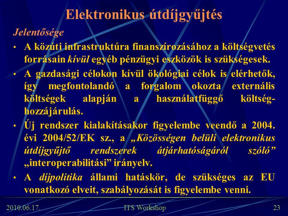 2010.06.17. ITS Workshop 23 Elektronikus útdíjgyűjtés Jelentősége A közúti infrastruktúra finanszírozásához a költségvetés forrásain kívül egyéb pénzü