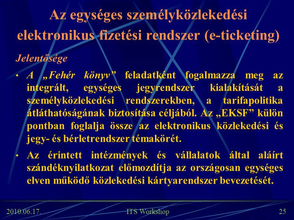 """2010.06.17. ITS Workshop 25 Az egységes személyközlekedési elektronikus fizetési rendszer (e-ticketing) Jelentősége A """"Fehér könyv"""" feladatként fogalm"""