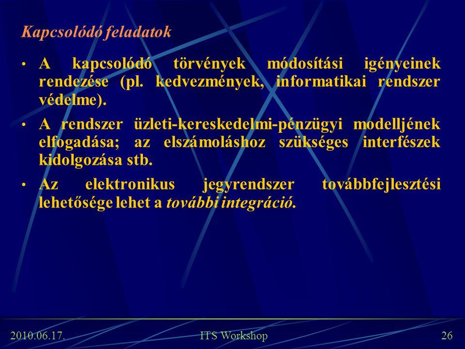2010.06.17. ITS Workshop 26 Kapcsolódó feladatok A kapcsolódó törvények módosítási igényeinek rendezése (pl. kedvezmények, informatikai rendszer védel
