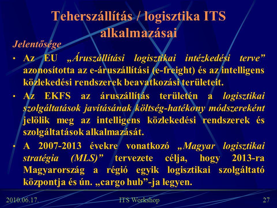 """2010.06.17. ITS Workshop 27 Teherszállítás / logisztika ITS alkalmazásai Jelentősége Az EU """"Áruszállítási logisztikai intézkedési terve"""" azonosította"""