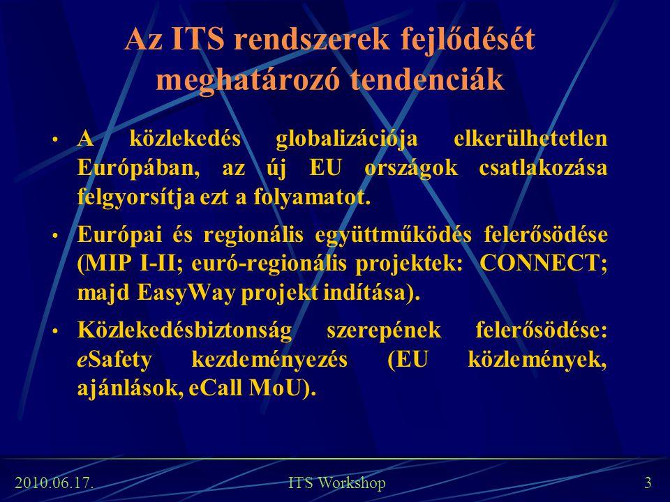 2010.06.17. ITS Workshop 3 Az ITS rendszerek fejlődését meghatározó tendenciák A közlekedés globalizációja elkerülhetetlen Európában, az új EU országo