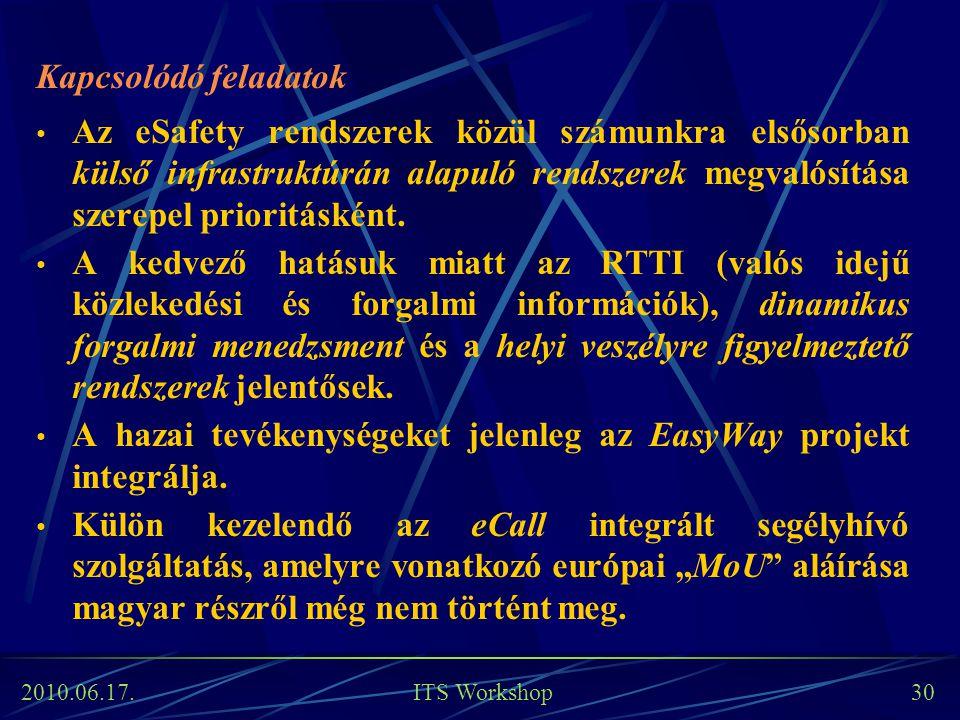 2010.06.17. ITS Workshop 30 Kapcsolódó feladatok Az eSafety rendszerek közül számunkra elsősorban külső infrastruktúrán alapuló rendszerek megvalósítá