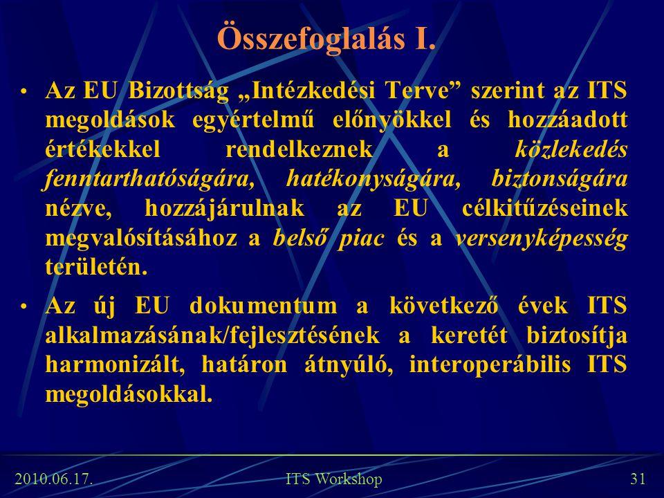 """2010.06.17. ITS Workshop 31 Összefoglalás I. Az EU Bizottság """"Intézkedési Terve"""" szerint az ITS megoldások egyértelmű előnyökkel és hozzáadott értékek"""