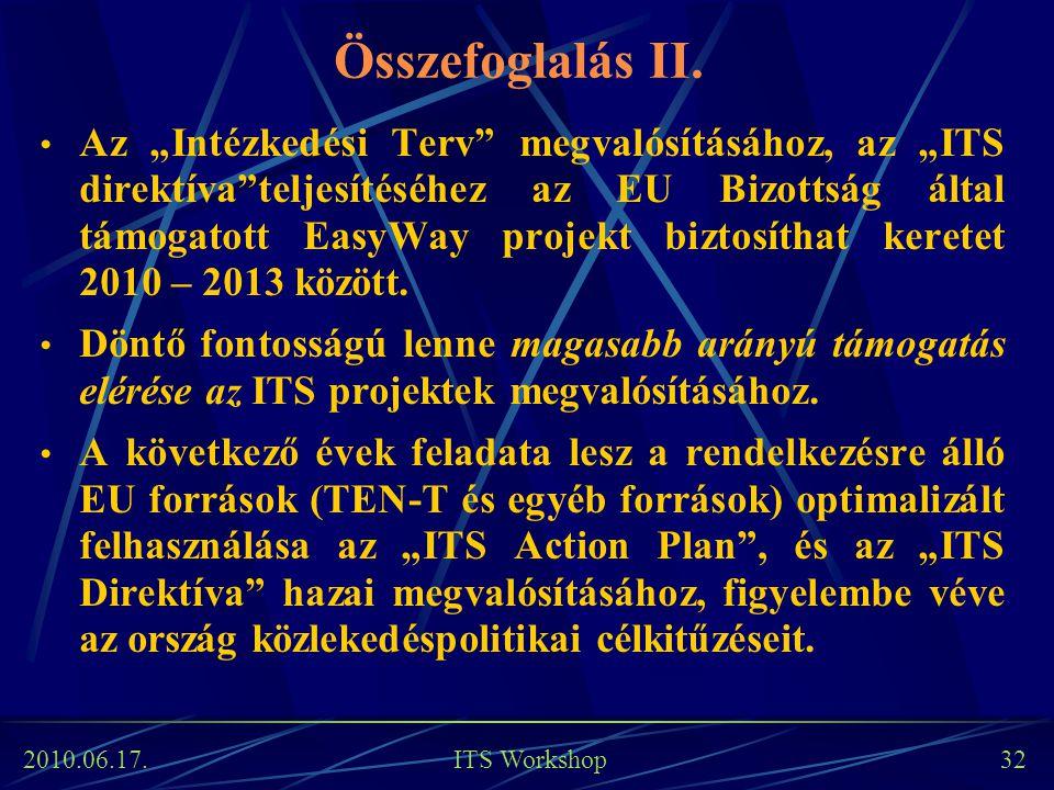 """2010.06.17. ITS Workshop 32 Az """"Intézkedési Terv"""" megvalósításához, az """"ITS direktíva""""teljesítéséhez az EU Bizottság által támogatott EasyWay projekt"""