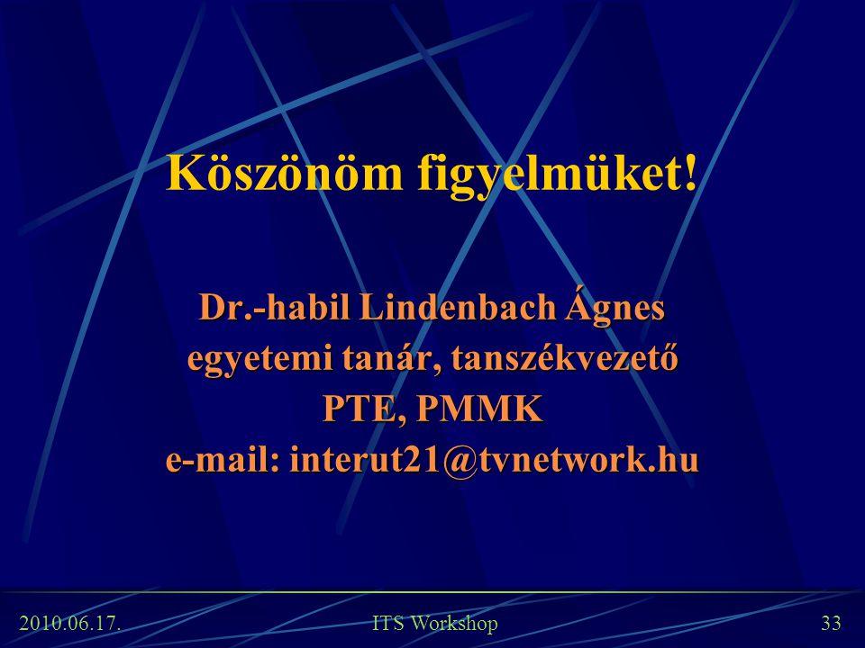 2010.06.17. ITS Workshop 33 Köszönöm figyelmüket! Dr.-habil Lindenbach Ágnes egyetemi tanár, tanszékvezető PTE, PMMK e-mail: interut21@tvnetwork.hu