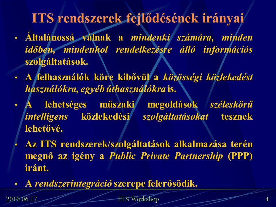 2010.06.17. ITS Workshop 4 ITS rendszerek fejlődésének irányai Általánossá válnak a mindenki számára, minden időben, mindenhol rendelkezésre álló info