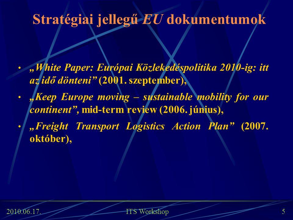 """2010.06.17. ITS Workshop 5 Stratégiai jellegű EU dokumentumok """"White Paper: Európai Közlekedéspolitika 2010-ig: itt az idő dönteni"""" (2001. szeptember)"""