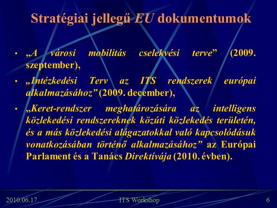 """2010.06.17. ITS Workshop 6 Stratégiai jellegű EU dokumentumok """"A városi mobilitás cselekvési terve"""" (2009. szeptember), """"Intézkedési Terv az ITS rends"""