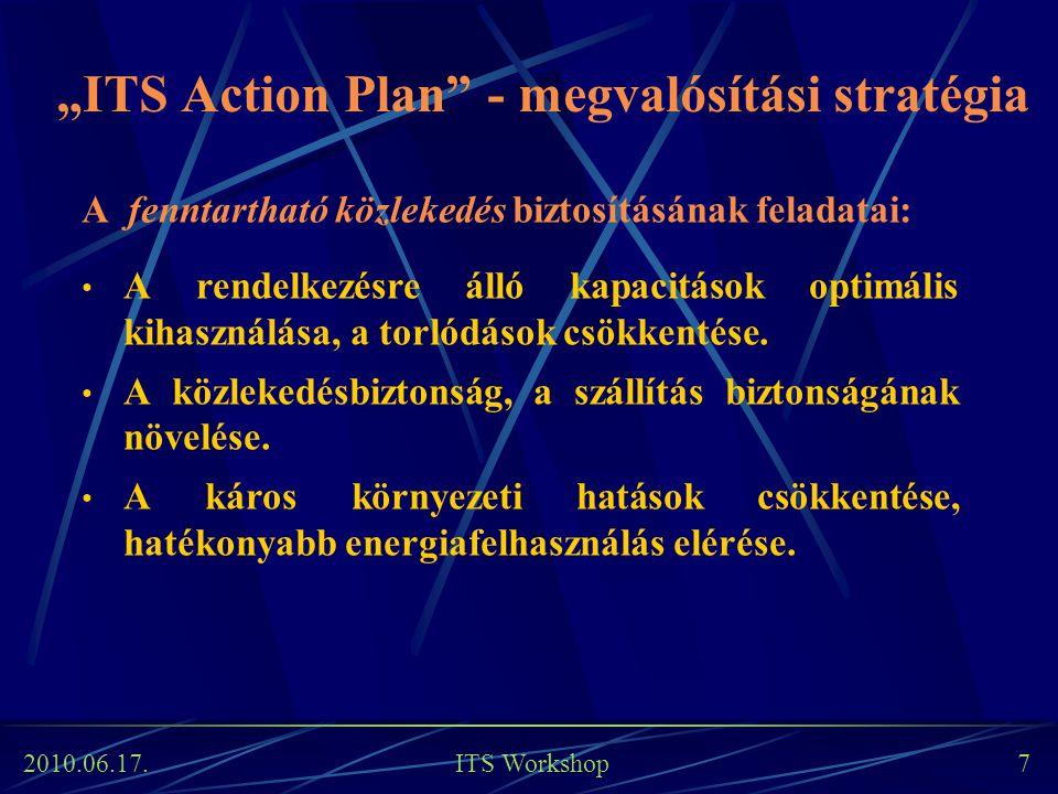 """2010.06.17. ITS Workshop 7 """"ITS Action Plan"""" - megvalósítási stratégia A fenntartható közlekedés biztosításának feladatai: A rendelkezésre álló kapaci"""
