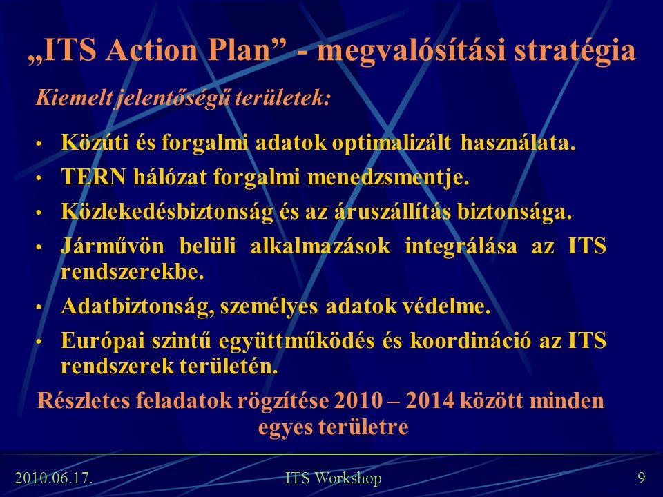 """2010.06.17. ITS Workshop 9 """"ITS Action Plan"""" - megvalósítási stratégia Kiemelt jelentőségű területek: Közúti és forgalmi adatok optimalizált használat"""