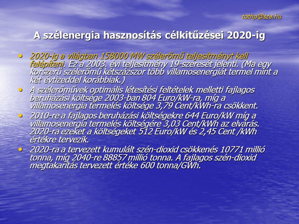 tothp@sze.hu A szélenergia hasznosítás célkitűzései 2020-ig 2020-ig a világban 158000 MW szélerőmű teljesítményt kell felépíteni.