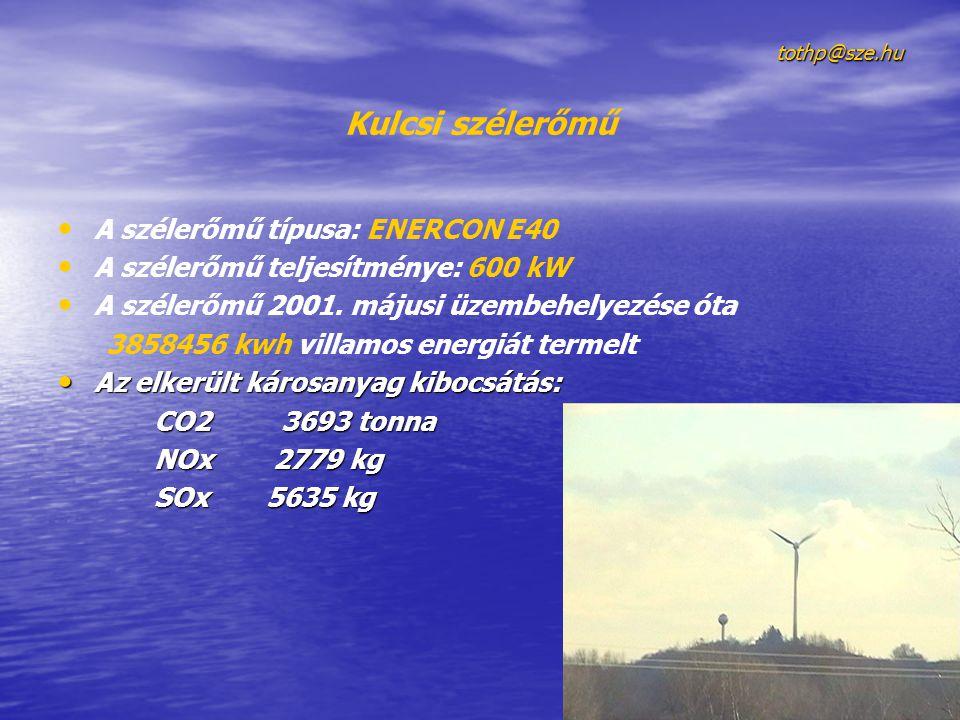 tothp@sze.hu Kulcsi szélerőmű A szélerőmű típusa: ENERCON E40 A szélerőmű teljesítménye: 600 kW A szélerőmű 2001.