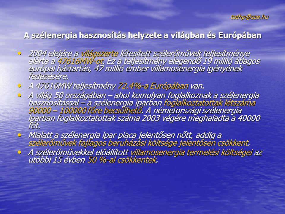 tothp@sze.hu A szélenergia hasznosítás helyzete a világban és Európában 2004 elejére a világszerte létesített szélerőművek teljesítménye elérte a 47616MW-ot.