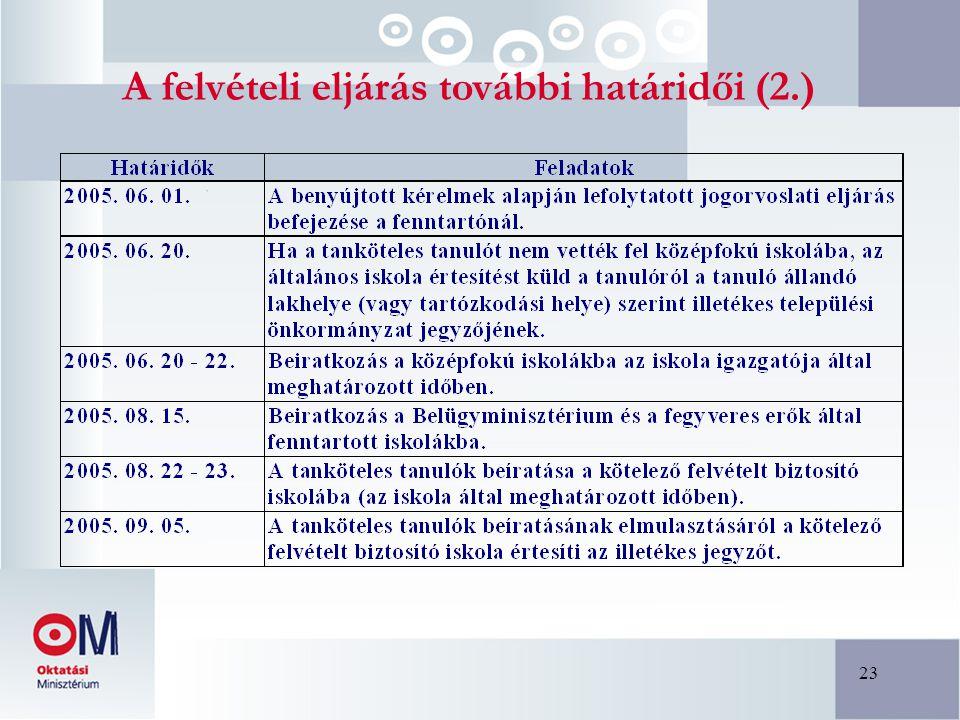 23 A felvételi eljárás további határidői (2.)