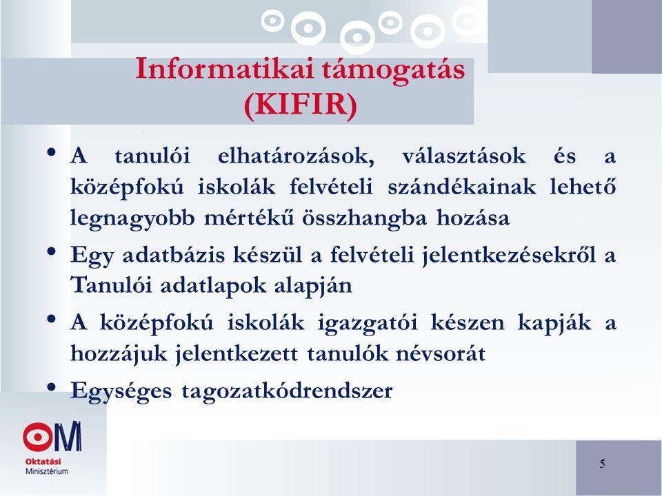 5 Informatikai támogatás (KIFIR) A tanulói elhatározások, választások és a középfokú iskolák felvételi szándékainak lehető legnagyobb mértékű összhang