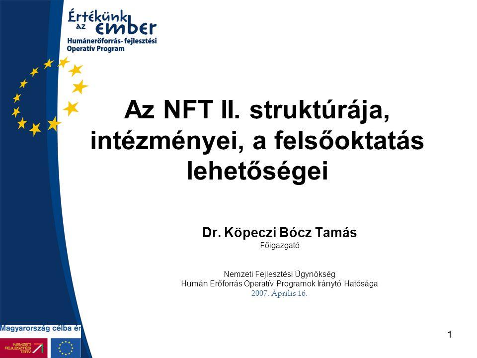1 Az NFT II. struktúrája, intézményei, a felsőoktatás lehetőségei Dr. Köpeczi Bócz Tamás Főigazgató Nemzeti Fejlesztési Ügynökség Humán Erőforrás Oper