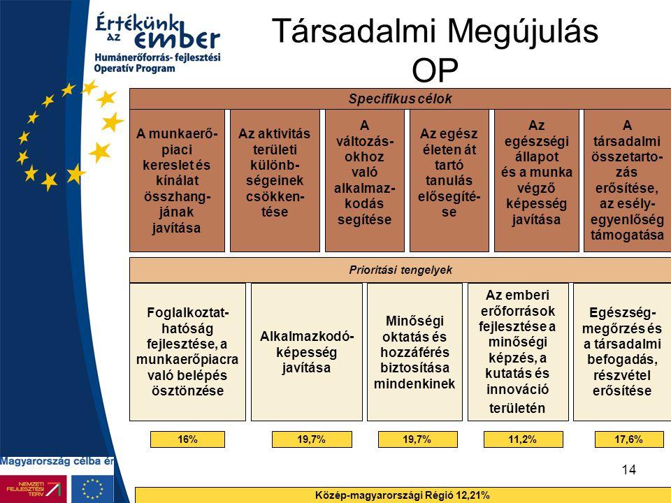 14 Társadalmi Megújulás OP Specifikus célok A munkaerő- piaci kereslet és kínálat összhang- jának javítása Prioritási tengelyek Foglalkoztat- hatóság