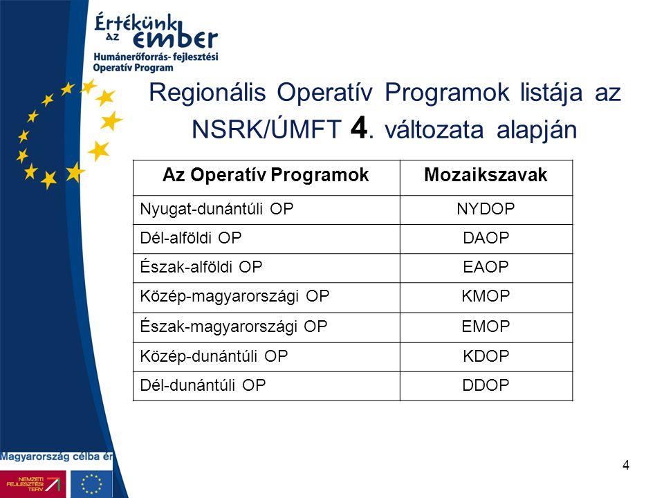 4 Regionális Operatív Programok listája az NSRK/ÚMFT 4. változata alapján Az Operatív ProgramokMozaikszavak Nyugat-dunántúli OPNYDOP Dél-alföldi OPDAO