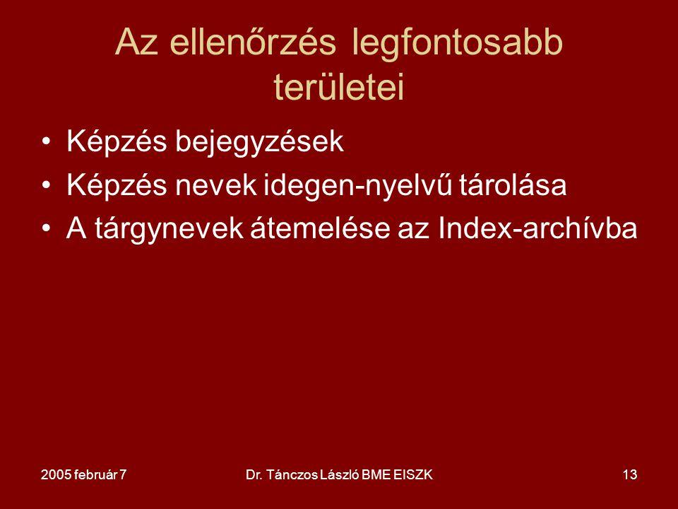 2005 február 7Dr. Tánczos László BME EISZK13 Az ellenőrzés legfontosabb területei Képzés bejegyzések Képzés nevek idegen-nyelvű tárolása A tárgynevek
