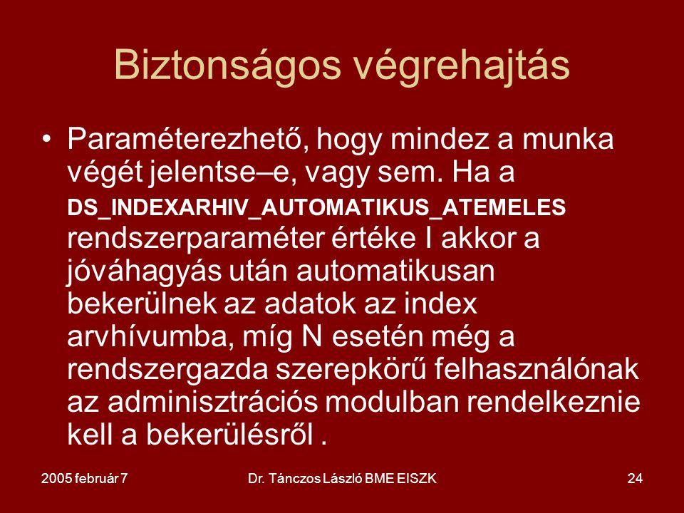 2005 február 7Dr. Tánczos László BME EISZK24 Biztonságos végrehajtás Paraméterezhető, hogy mindez a munka végét jelentse–e, vagy sem. Ha a DS_INDEXARH