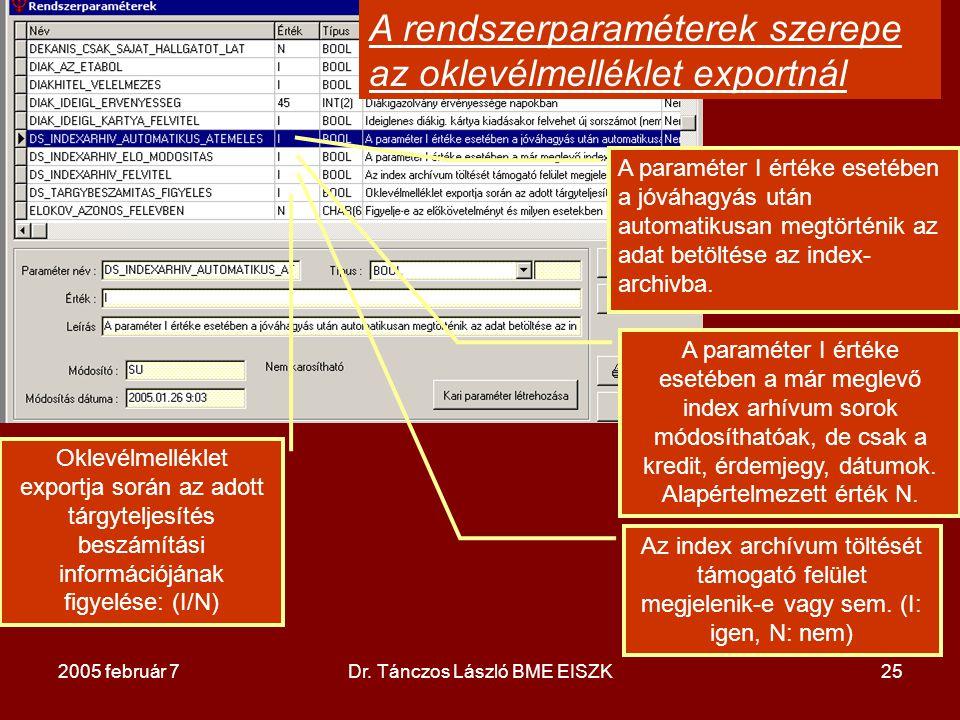 2005 február 7Dr. Tánczos László BME EISZK25 A paraméter I értéke esetében a jóváhagyás után automatikusan megtörténik az adat betöltése az index- arc