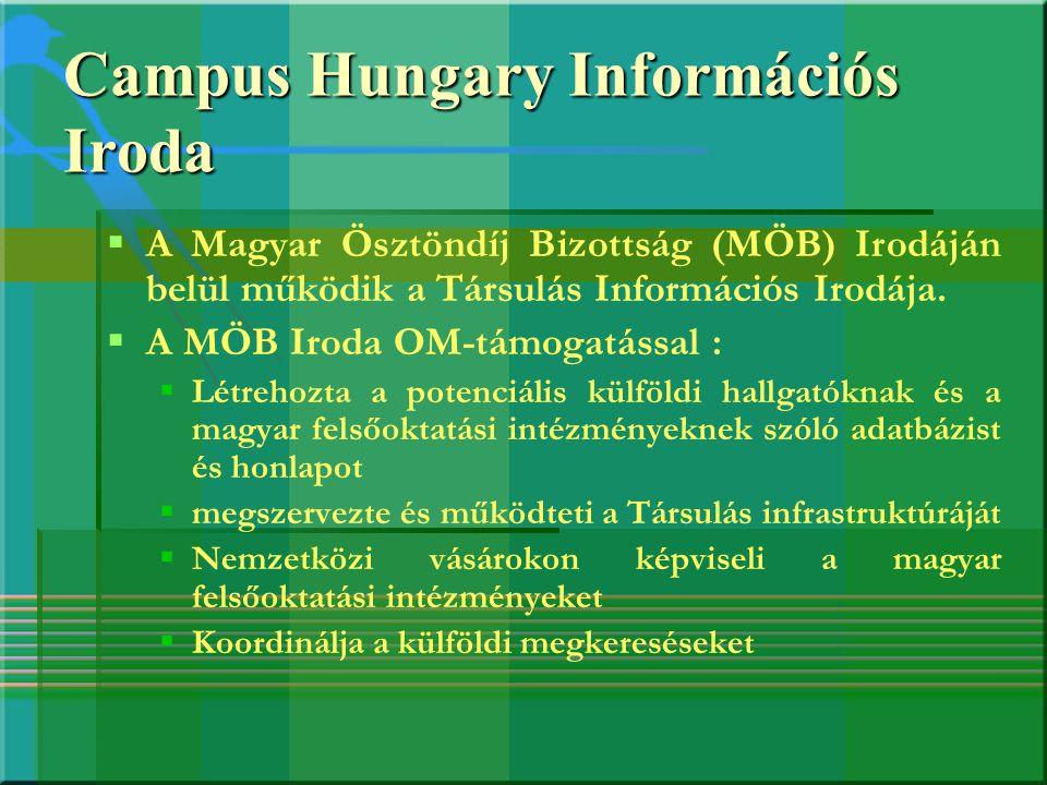 Campus Hungary Információs Iroda   A Magyar Ösztöndíj Bizottság (MÖB) Irodáján belül működik a Társulás Információs Irodája.   A MÖB Iroda OM-támo