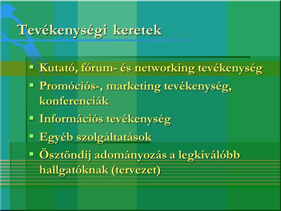 Tevékenységi keretek  Kutató, fórum- és networking tevékenység  Promóciós-, marketing tevékenység, konferenciák  Információs tevékenység  Egyéb sz