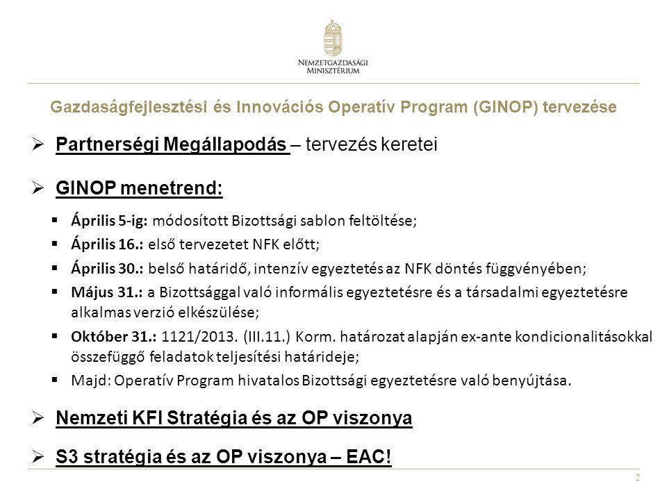 2 Gazdaságfejlesztési és Innovációs Operatív Program (GINOP) tervezése  Partnerségi Megállapodás – tervezés keretei  GINOP menetrend:  Április 5-ig