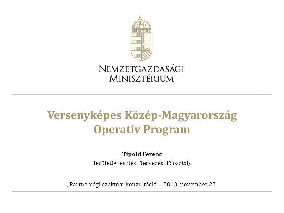 """Versenyképes Közép-Magyarország Operatív Program Tipold Ferenc Területfejlesztési Tervezési Főosztály """"Partnerségi szakmai konzultáció""""– 2013. novembe"""