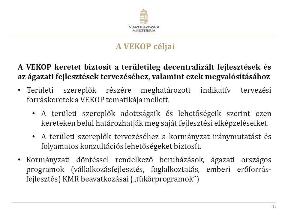 13 A VEKOP céljai A VEKOP keretet biztosít a területileg decentralizált fejlesztések és az ágazati fejlesztések tervezéséhez, valamint ezek megvalósít