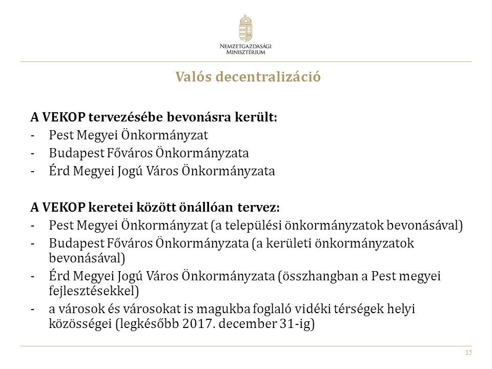 15 Valós decentralizáció A VEKOP tervezésébe bevonásra került: -Pest Megyei Önkormányzat -Budapest Főváros Önkormányzata -Érd Megyei Jogú Város Önkorm