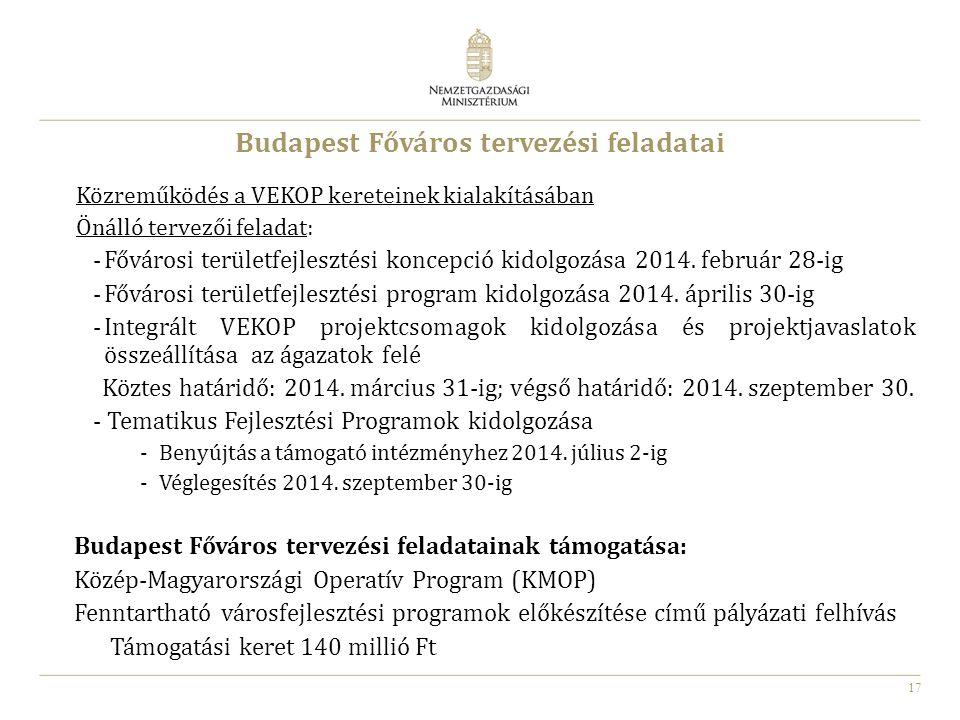 17 Budapest Főváros tervezési feladatai Közreműködés a VEKOP kereteinek kialakításában Önálló tervezői feladat: -Fővárosi területfejlesztési koncepció