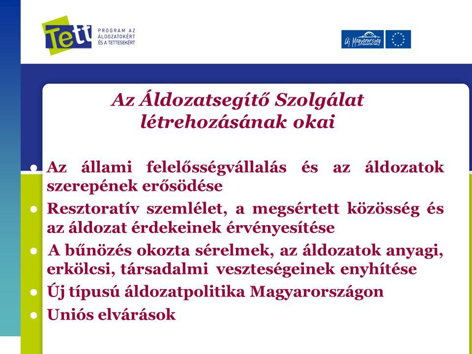 Az Áldozatsegítő Szolgálat létrehozásának okai ● Az állami felelősségvállalás és az áldozatok szerepének erősödése ●Resztoratív szemlélet, a megsértett közösség és az áldozat érdekeinek érvényesítése ● A bűnözés okozta sérelmek, az áldozatok anyagi, erkölcsi, társadalmi veszteségeinek enyhítése ● Új típusú áldozatpolitika Magyarországon ● Uniós elvárások