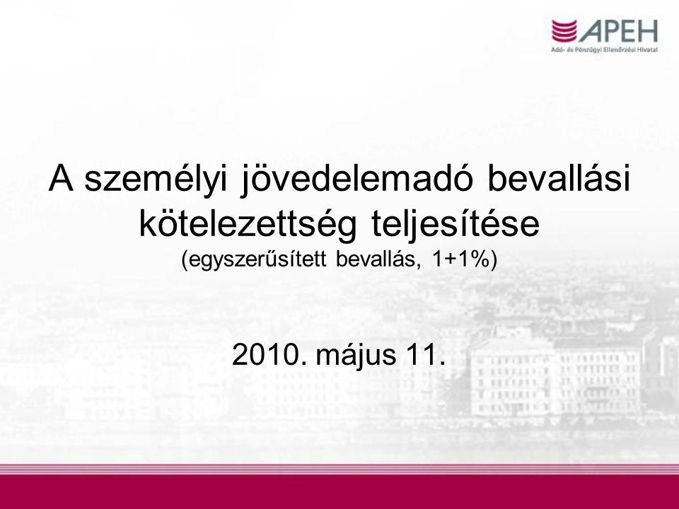 A személyi jövedelemadó bevallási kötelezettség teljesítése (egyszerűsített bevallás, 1+1%) 2010. május 11.