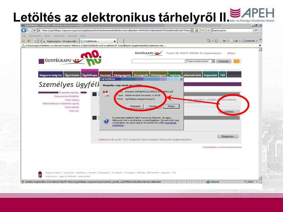 Letöltés az elektronikus tárhelyről II.