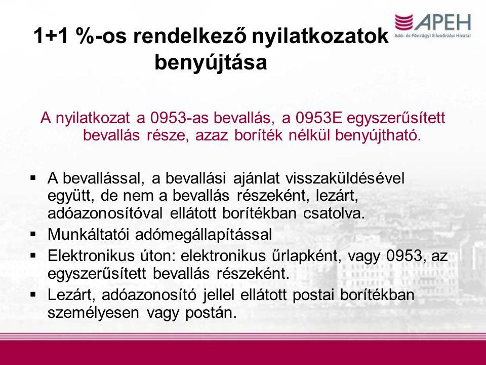 1+1 %-os rendelkező nyilatkozatok benyújtása A nyilatkozat a 0953-as bevallás, a 0953E egyszerűsített bevallás része, azaz boríték nélkül benyújtható.