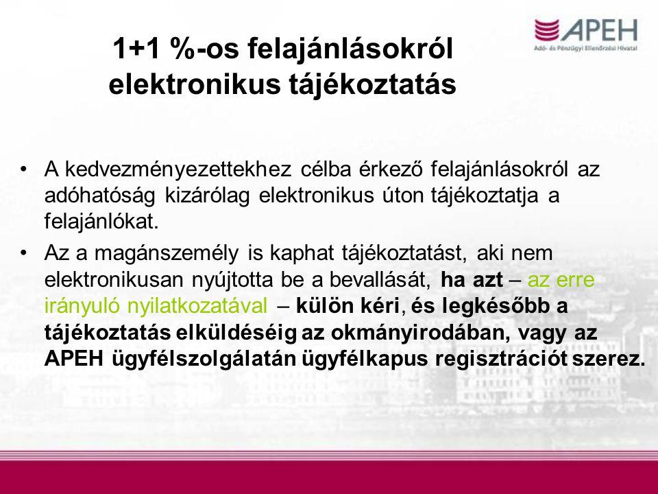 1+1 %-os felajánlásokról elektronikus tájékoztatás A kedvezményezettekhez célba érkező felajánlásokról az adóhatóság kizárólag elektronikus úton tájék