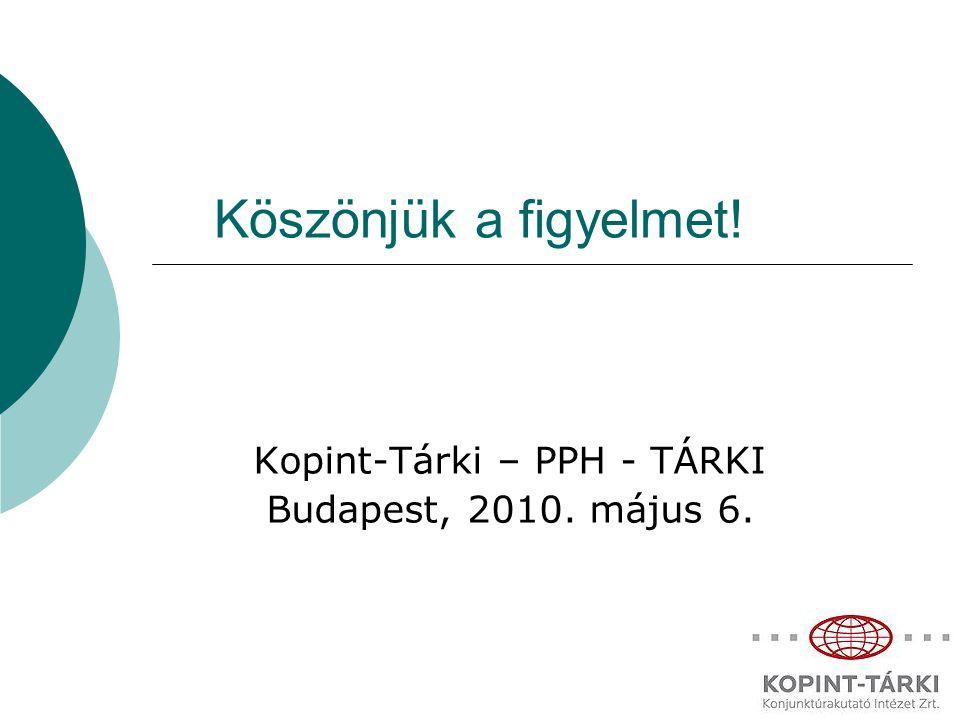 Köszönjük a figyelmet! Kopint-Tárki – PPH - TÁRKI Budapest, 2010. május 6.