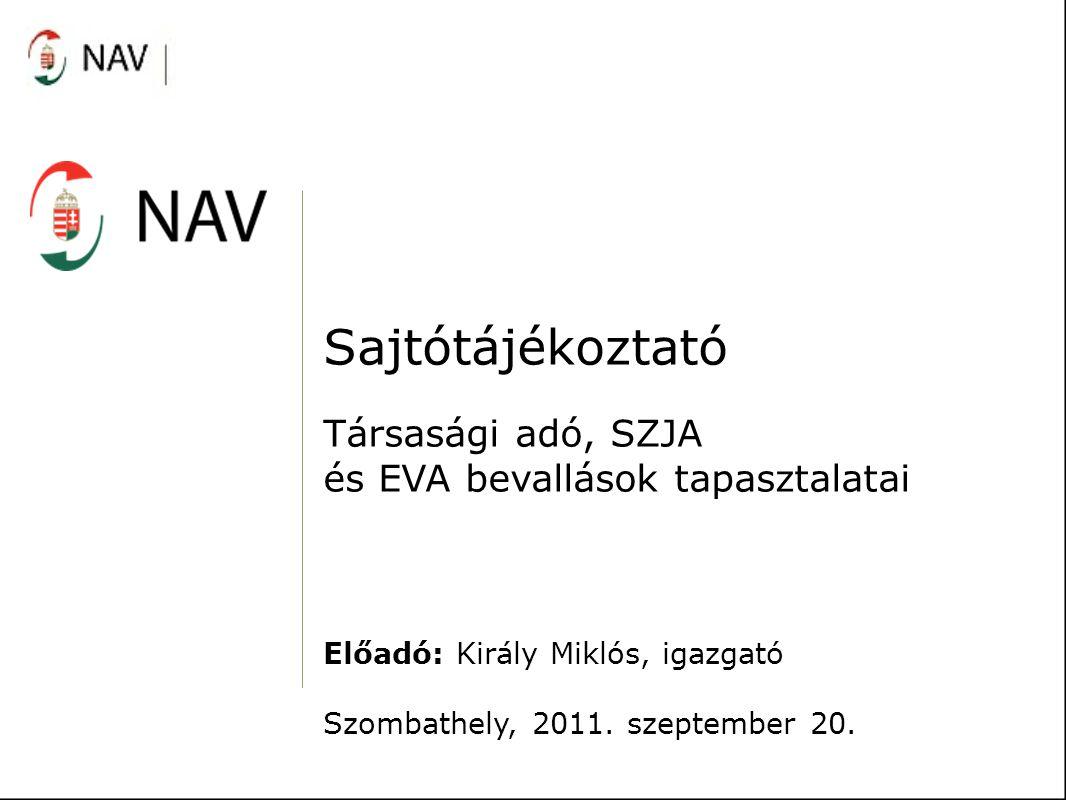 Sajtótájékoztató Társasági adó, SZJA és EVA bevallások tapasztalatai Előadó: Király Miklós, igazgató Szombathely, 2011. szeptember 20.