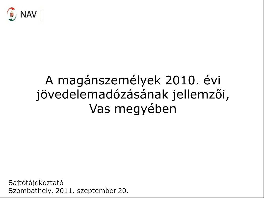 A magánszemélyek 2010. évi jövedelemadózásának jellemzői, Vas megyében Sajtótájékoztató Szombathely, 2011. szeptember 20.