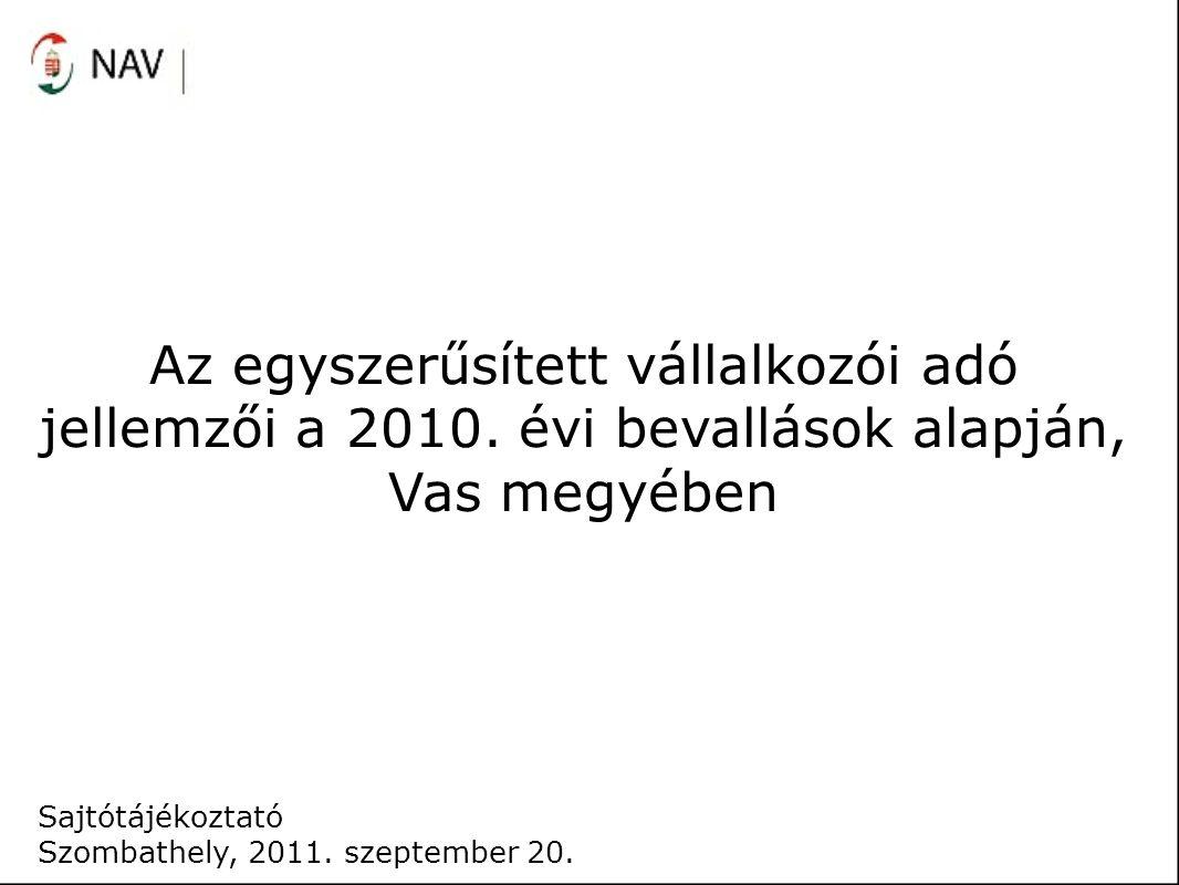 Az egyszerűsített vállalkozói adó jellemzői a 2010. évi bevallások alapján, Vas megyében Sajtótájékoztató Szombathely, 2011. szeptember 20.